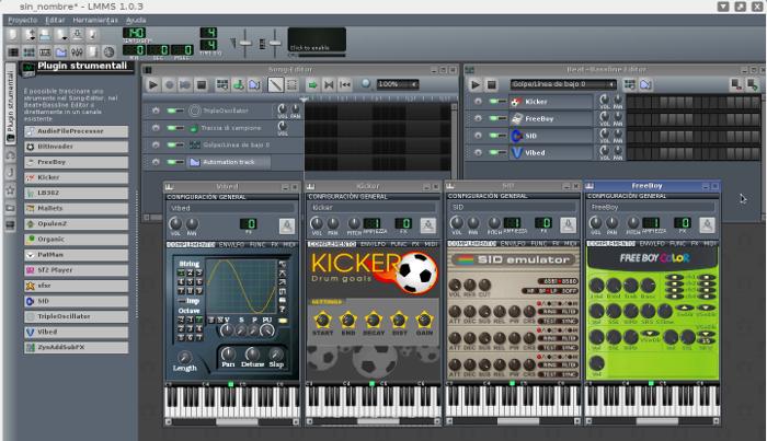 Algunos instrumentos creados en LMMS